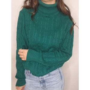Vintage St Johns Bay turtle neck green sweater
